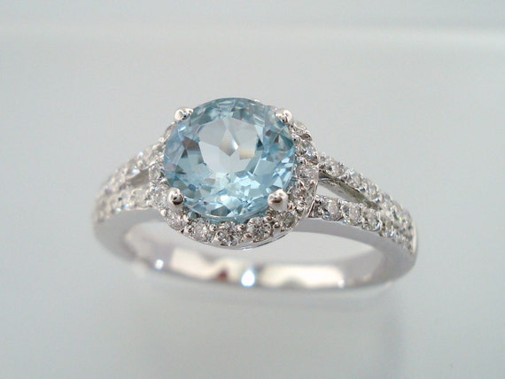 14K White Gold Aquamarine & Diamond Engagement Ring 1.35 Carat HandMade Certified Birthstone