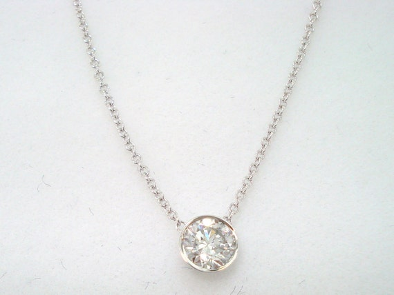 0.39ct  Solitaire Diamond By The Yard Necklace Pendant 14k White Gold HandMade Low Bezel Set