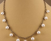 White Pearls with Antique Brass Chain