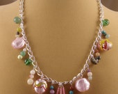 Colorful Pink and Green Charms on a Silver Chain Necklace