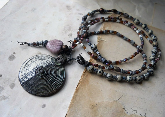 RESERVED - Beaded Necklace -- Stone, Glass, Bone Beads - Assemblage Pendant - Rustic Beaded Necklace