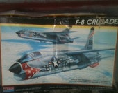 Model Airplane Kit 1980's F-8 Crusader Naval  Aircraft 1/48 scale Monogram kit 5826 salvage