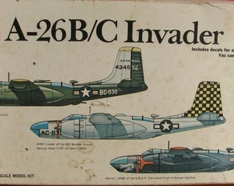 Model Airplane Kit A-26 B  A-26 Bomber  1/72 MPC detailed interior WWII or Korean War 1970's Hobby salvage aircraft military