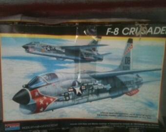 Model Airplane Kit 1980's F-8 Crusader Naval  Aircraft 1/48 scale Monogram kit 5826 salvage