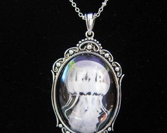 Jellyfish Art Cameo Pendant Necklace --- Vintage style antique silver toned art photo of a jellyfish on 18 in chain comes gift boxed for he