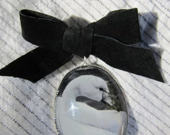 Black and White brooch, Swan Jewelry, Black Velvet bow, Woman gift under 50, Nature art Jewelry, Swan Brooch, Jewelry for nature lovers