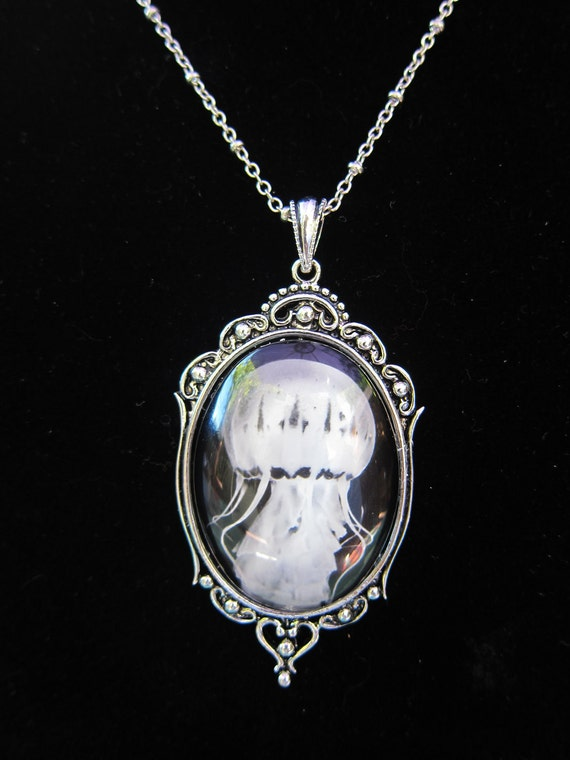 jellyfish art cameo pendant necklace vintage by penumbraimages