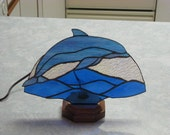 REDUCED!!! Stained Glass Dolphin Fan Lamp