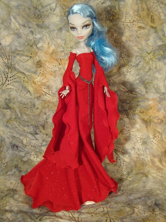 Red Medieval Gown Designed for Your Monster High Doll