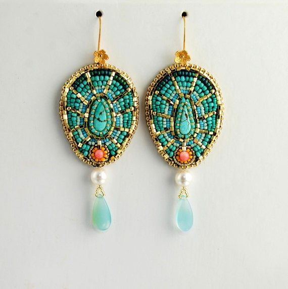 Moroccan Passion - Bead Embroidered Earrings, Oriental Statement Earrings, Turquoise and Gold, Gemstone, Coral, Glass and Leather