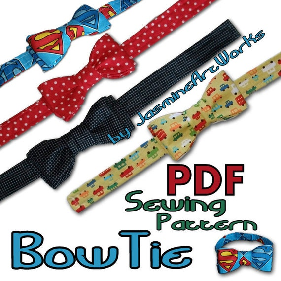 Bow Tie DIY PDF Sewing Pattern by JasmineArtWorks on Etsy