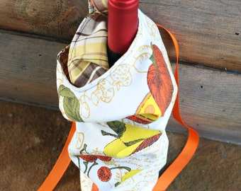 Colleen wine bag - vintage yellow kitchen - FREE US Shipping