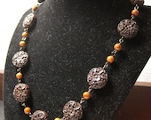 Flowers and Chocolate - Necklace. Cinnabar and Fossil Stone. Handmade Jewelry, natural stone