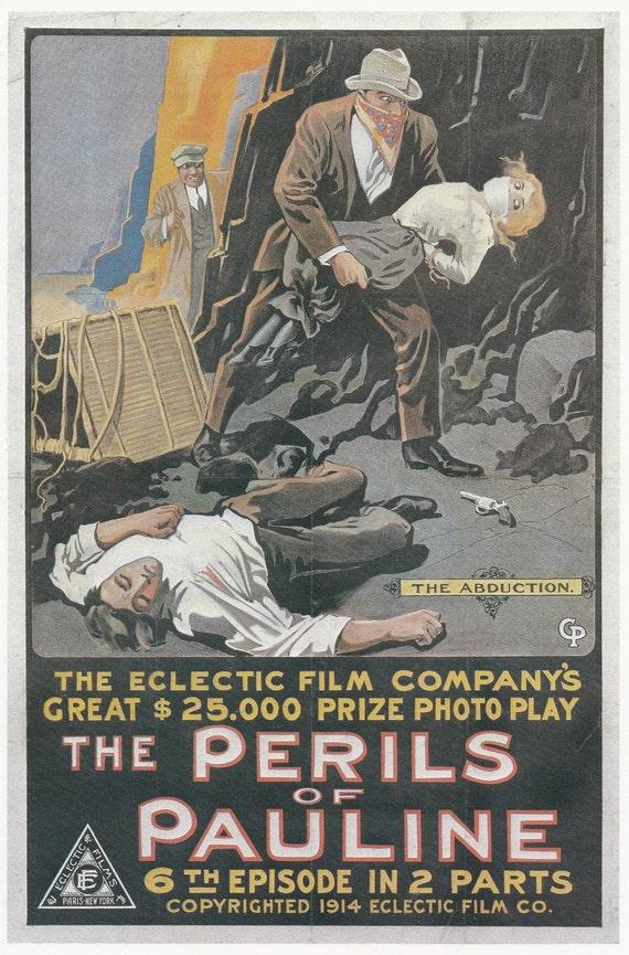 Vintage Silent Movie Poster Art Print Perils Of Pauline