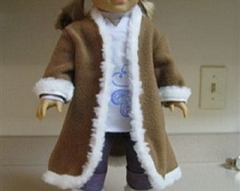 """Brown Fleece Coat & Boots for 18"""" dolls / American Girl"""