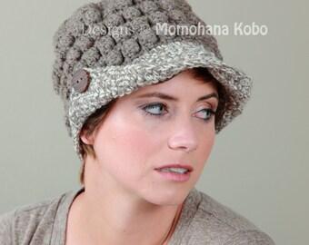 Wool Newsboy Hat in Dark Ash and Beige/Ash Marl