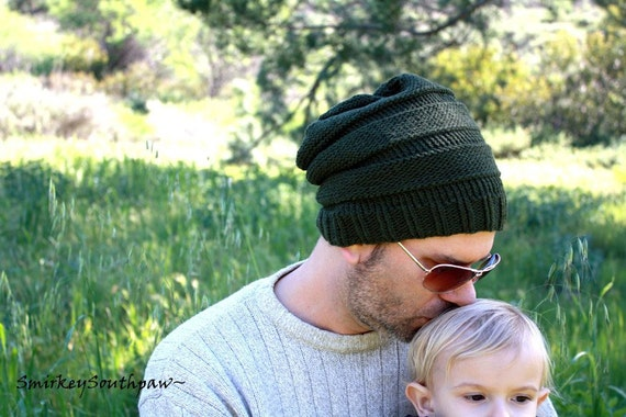 SALE Mens Organic Cotton Slouchy Knit Hat in Forest Green - One Size Fits All