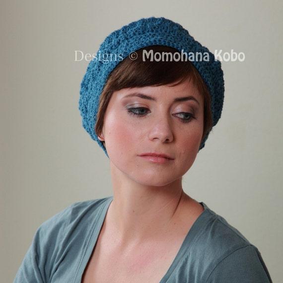 SALE Hemp Crocheted Yoga Beret  in Size M, Deep Sea Blue