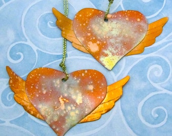 Copper Winged Heart Ornament