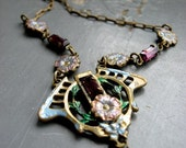 GARDEN GATE - reclaimed romantic deco floral charm, pearl & purple crystal rhinestone metalwork NECKLACE