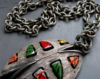Scarab - tribal, matte silver metalwork, abstract industrial beetle pendant & statement chain necklace