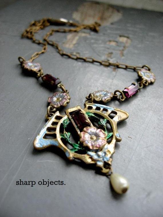 GARDEN GATE - reclaimed romantic deco floral charm, pearl & purple crystal rhinestone metalwork NECKLACE