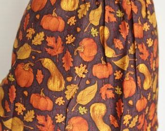 Pumpkin Print Apron Half Hostess aubergine, gold