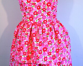 Sundress tiered skirt plisse cherry blossom print medium