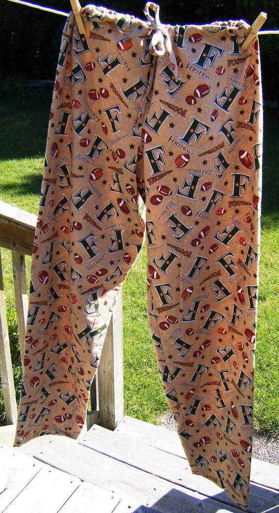 LARGE Dorm pants pajama lounge flannel brown green football print LARGE