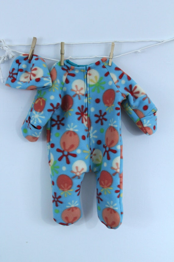 Baby Bunting outerwear in turquoise print fleece