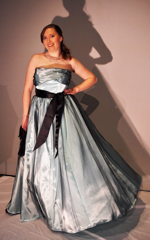 Retro mint gown vintage inspired satin and tulle bridesmaid prom dress ready to ship size 10 - 12