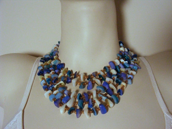 Vintage Statement Necklace and Clip On Earring Set Blue Shell Cluster Multi Strand