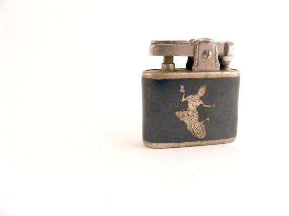 Vintage Lighter Niello Inlay Siam Dancer Small Apex Butane Nielloware