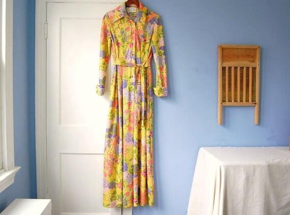 Floral Maxi Dress Vintage Long Boho Dress 70s Clothing Floral Boho Flower Maxi Long Hippie Leslie Fay Medium