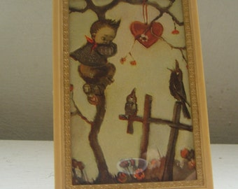 a Boy, a Heart, and Two Crows - vintage framed picture
