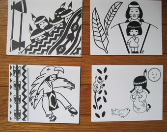 vintage 1970s Box Set of Native American Greeting Cards - set of 8