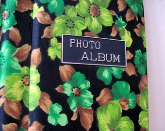 1960s Green, Bronze, and Black Floral Photo Album - vintage Guest Book - retro keepsake