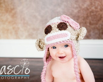 Crochet Pattern, Sock Monkey hat in Pink & Red in 5 different sizes for boys and girls PDF 2