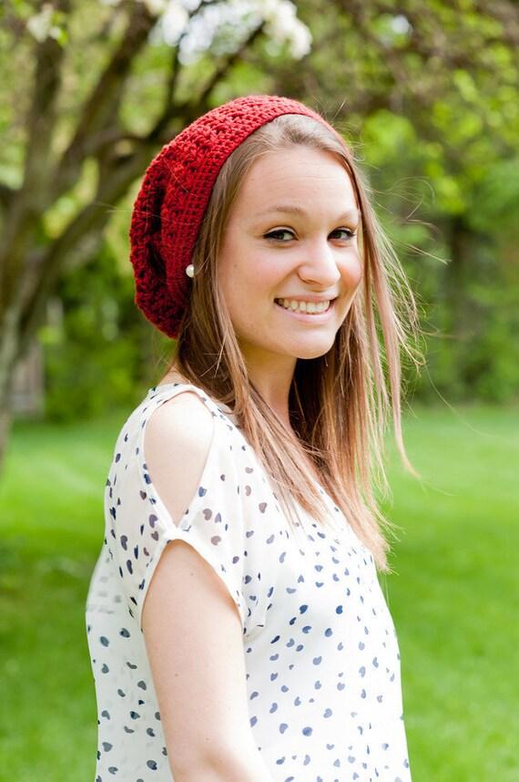 Crochet Pattern, Slouch Beanie Pattern - Teen & Adult Size - Instant Download Crochet Pattern