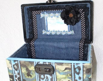 Wild Child Carry on Case Train Case Make Up Case Blue Cheetah Unique Luggage by My Cozy Cottage Designs