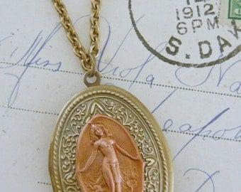 Locket Necklace - Art Nouveau Locket - Vintage Brass Jewelry - OOAK - Chloe's Handmade Jewelry