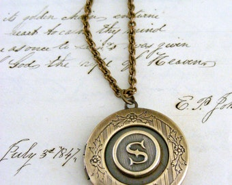 Locket Necklace - Initial S - Letter S - Vintage Brass Jewelry - Personalized Necklace - ALL LETTERS handmade jewelry  Personalized Jewelry