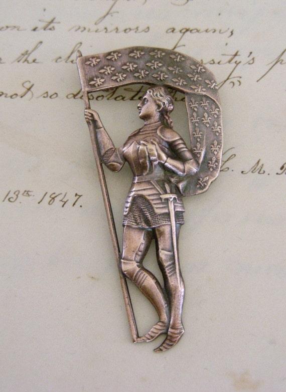 Saint Joan of Arc Brooch Pin - Vintage Fleur De Lis  Brass French Brooch by Chloes Vintage Jewelry