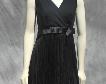Vintage 60's fringed MOD cocktail dress fun and sexy little black GO GO dress by thekaliman