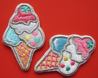 SALE~ 2 pcs Iron-on Embroidered Applique Ice Cream Cone 1.75 inch