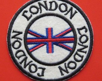 SALE~ Iron-on Embroidered Patch London 3.1 inch