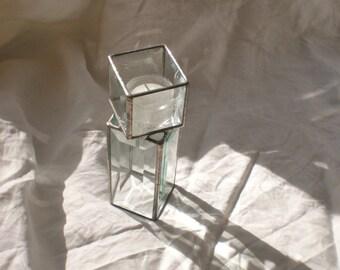 Beveled Glass Candleholder large pedestal tealight