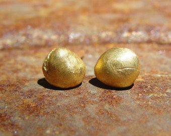 Solid Gold Earrings , 24K Gold Studs , Gold Studs , Gold Earrings