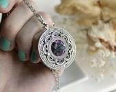 Apothecary Aged Silver and Swarovski Necklace - Silver - Purple - Pink - Aqua - Steampunk - Fantasy - Magic