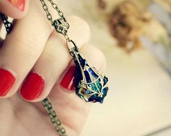 Brass Swarovski Necklace - Meridian Blue - Victorian - Fantasy Winter Wedding - Bridal - Holidays - December - Christmas